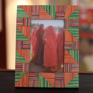 Handmade Indian Elm Wood 'Jaipuri Puzzle' Photo Frame (India)