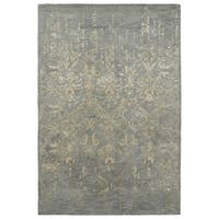 "Hand-Tufted Wool & Viscose Anastasia Vanishing Pewter Green Rug (5' x 7'9"")"