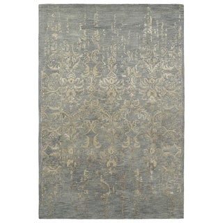 Hand-Tufted Wool u0026 Viscose Anastasia Vanishing Pewter Green Rug (8u0027 x 11