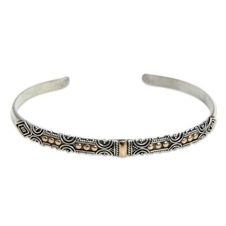 Handmade Sterling Silver Gold Accent 'Golden Suns' Bracelet (Indonesia)