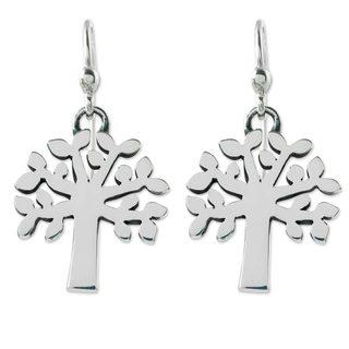 Handmade Sterling Silver 'Ceiba Tree' Earrings (Mexico)