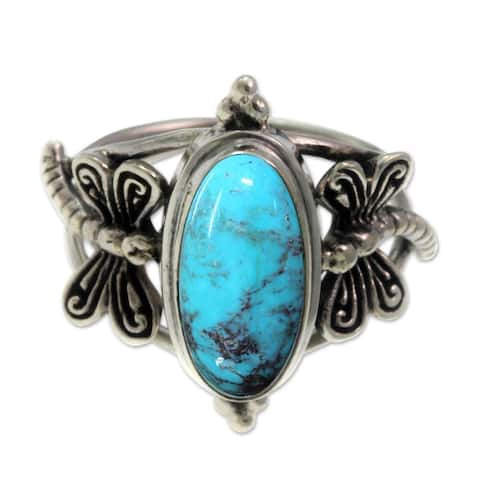 Handmade Sterling Silver 'Dragonfly Sky' Turquoise Ring (Indonesia)