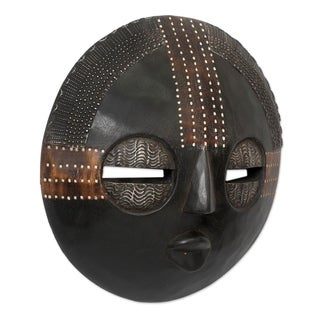 Handcrafted Sese Wood 'Kokobene Luck' Mask (Ghana)