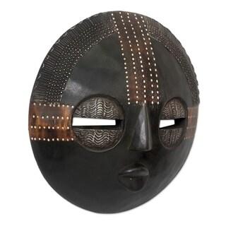 Handcrafted Sese Wood 'Kokobene Luck' Mask (Ghana)