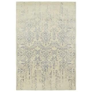 Hand-Tufted Wool & Viscose Anastasia Vanishing Grey Rug (8' x 11') - 8' x 11'