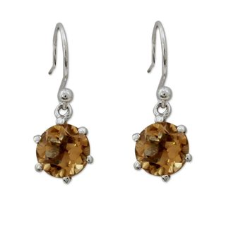 Sterling Silver 'Golden Solitaire' Citrine Earrings (India)