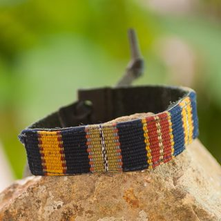 Men's Leather Cotton 'Land of the Maya' Bracelet (Guatemala)
