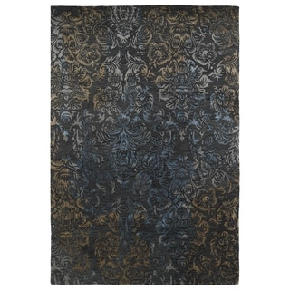 Hand-Tufted Wool & Viscose Anastasia Charcoal Damask Rug (5' x 7'9)