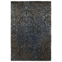 "Hand-Tufted Wool & Viscose Anastasia Charcoal Damask Rug - 5' x 7'9"""