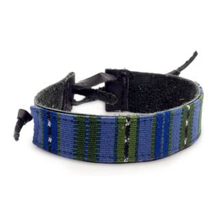 Men's Leather Cotton 'Under the Mayan Sky' Bracelet (Guatemala)