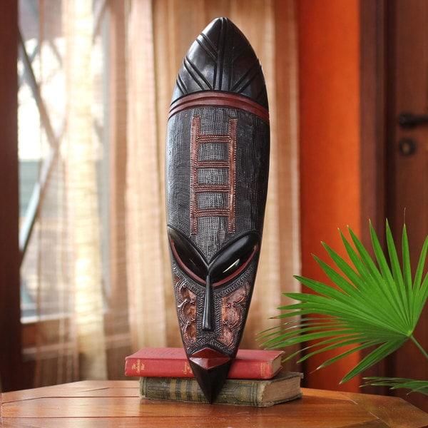 Handmade Sese Wood 'Ladder of Death' Mask (Ghana) - Black - N/A