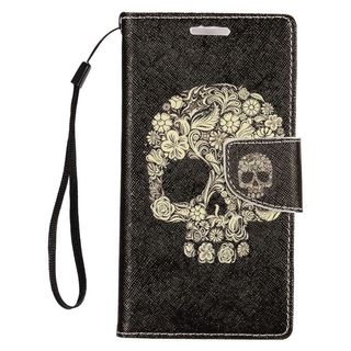 Insten Black/ Beige Skull Leather Case Cover Lanyard with Stand/ Wallet Flap Pouch/ Photo Display For Samsung Galaxy S7