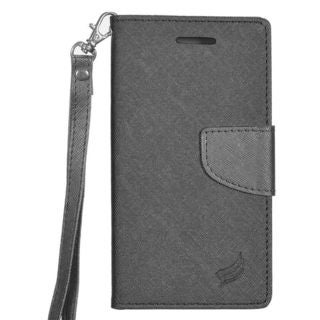 Insten Black Leather Case Cover Lanyard with Stand/ Wallet Flap Pouch/ Photo Display For Samsung Galaxy J3