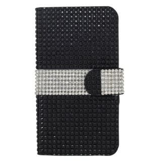 Insten Black/ Silver Leather Rhinestone Bling Case Cover with Wallet Flap Pouch For Samsung Galaxy S7 Edge