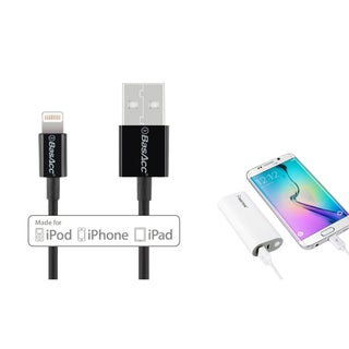 INSTEN Universal White 5200mAh USB Portable Power Bank/ BasAcc 3.3 feet MFI Apple 8-pin Lightning to USB Sync Cable