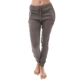 Soho Women Crepe Pull-On Jogger Pants with Side Zipper Exterior Pockets (As Is Item)