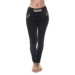 Soho Women Black Scuba Pants with Heart/ Pearl/ Chain Link Buckle