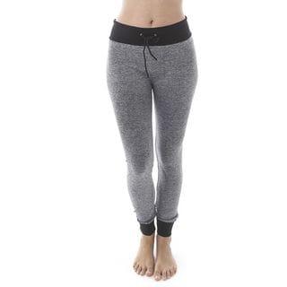 Soho Women Grey/ Navy Seamless Heather Space Dye Comfort Stretch Casual Jogger Sweatpants
