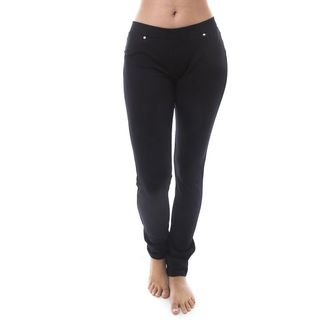 Soho Women Black Pull-On Ponte Casual Skinny Pants