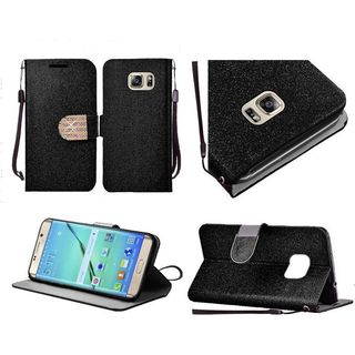 Insten Leather Glitter Case Cover Lanyard with Stand/Diamond For Samsung Galaxy S7 Edge