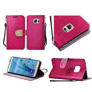 Insten Leather Glitter Case Cover Lanyard with Stand/Diamond For Samsung Galaxy S7