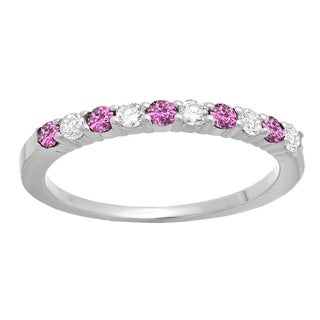 Elora 14k Gold 1/2ct Round Pink Sapphire and White Diamond Stackable Wedding Band (J-K, I2-I3)