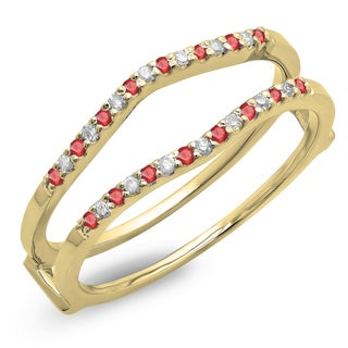 Elora 14k Gold 1/5ct Round Ruby and White Diamond Anniversary Wedding Band Enhancer Guard Double Ring (H-I