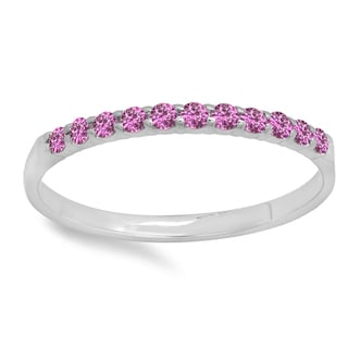 10k Gold 1/5ct Round Pink Sapphire Anniversary Wedding Ring Stackable Band (I1-I2)