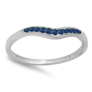 14k Gold 1/10ct Round Blue Sapphire Anniversary Wedding Stackable Contour Guard Band (I1-I2)