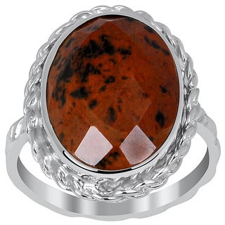 Orchid Jewelry 925 Sterling Silver 6 1/2ct. Mahagony Obsidian Ring
