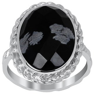 Orchid Jewelry 6.10 Carat Snowflake Obsidian Sterling Silver Twisted Ring