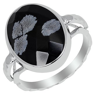 Orchid Jewelry 6.10ct Snowflake Obsidian Sterling Silver Ring