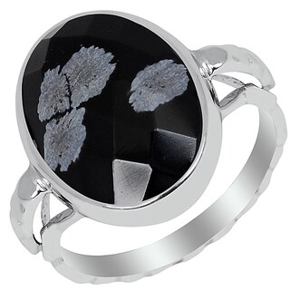 Orchid Jewelry 6.10ct Snowflake Obsidian Sterling Silver Oval Shape Ring