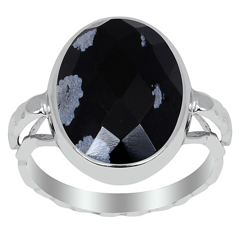 Orchid Jewelry 6.10 Carat Snowflake Obsidian Sterling Silver Oval Shape Ring