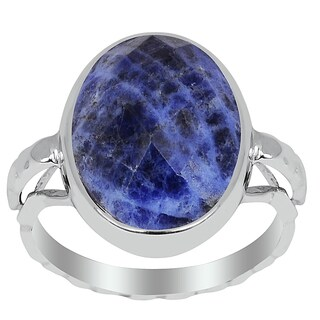 Orchid Jewelry 6.00ct Sodalite Sterling Silver Oval Shape Ring