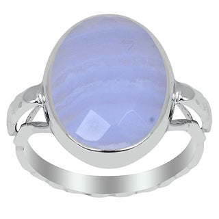 Orchid Jewelry 925 Sterling Silver 7 3/4ct. Blue Lace Agate Ring