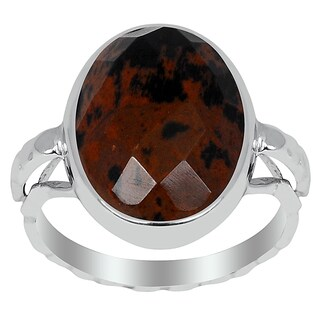 Orchid Jewelry 925 Sterling Silver 6 1/2ct. Mahogany Obsidian Ring