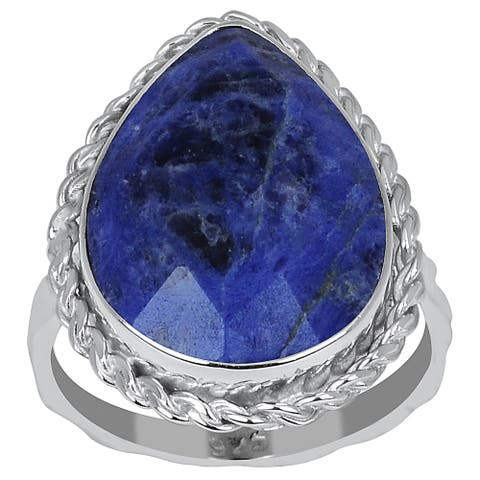Sodalite Sterling Silver Pear Engagement Ring by Orchid Jewelry