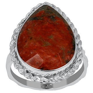 Orchid Jewelry 9.50ct Unakite Jasper Sterling Silver Twisted Ring