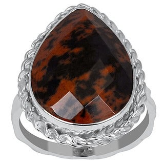 Orchid Jewelry 925 Sterling Silver 6 2/3ct. Mahogany Obsidian Ring
