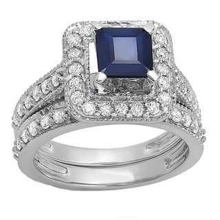 Elora 14k White Gold 2 1/3ct Princess Blue Sapphire and White Diamond Bridal Halo Engagement Ring Set (H-I