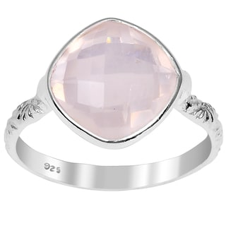 Orchid Jewelry 3.55ct Rose Quartz Sterling Silver Ring