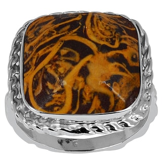 Orchid Jewelry 9.10ct Mariam Jasper Sterling Silver Ring