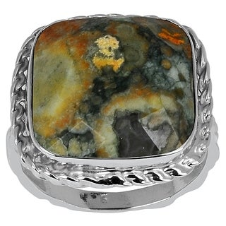 Orchid Jewelry Sterling Silver 12 1/4ct. Cushion-cut Jasper Gemstone Ring