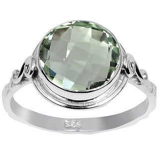orchid Jewelry 3.15ct Green Amethyst Sterling Silver Ring