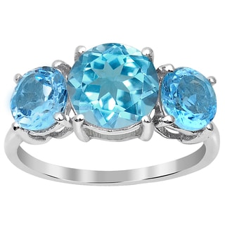 Orchid Jewelry 4.40ct Blue Topaz Sterling Silver 3-Stone Engagement Ring