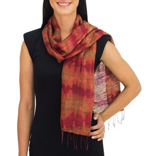 Handcrafted Silk 'Crimson Wilderness' Scarf (Thailand)