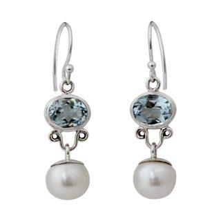 Sterling Silver 'Dazzling Delhi' Topaz Pearl Earrings (9 mm) (India)