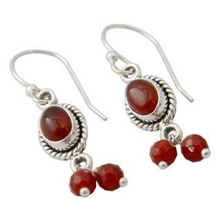 Sterling Silver 'Whispered Desire' Carnelian Earrings (India)