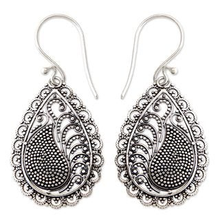 Handmade Sterling Silver 'Morning Dew' Earrings (Indonesia)